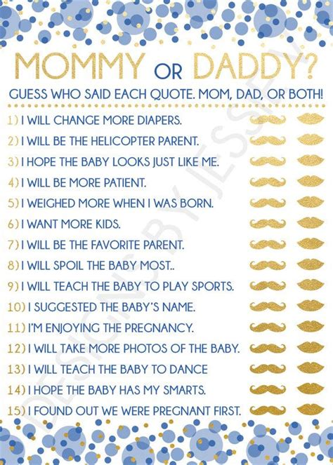 mommy  daddy printable baby shower game blue  gold