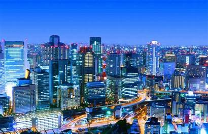 Skyline Lights Cities Osaka Japan Night Wallpapers