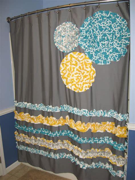 Shower Curtain Custom Made Ruffles And Flowers Designer Fabric