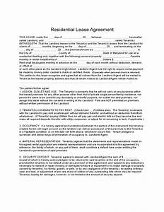 Residential Lease Template Free Maryland Residential Lease Agreement Free Download