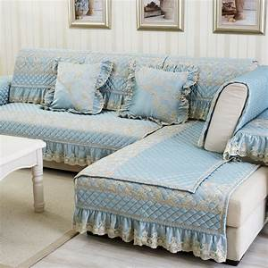 Luxury polyester cotton fabric sectional sofa cover blue for Quilted sectional sofa cover