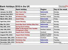 Public Holidays 2018 calendar printable free