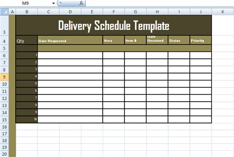 format  delivery schedule template  excel