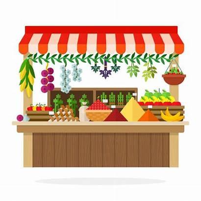 Vector Stand Farm Clip Kiosk Vegetable Illustrations