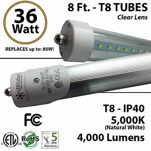 8 Ft T8 Led Tube Light 36w 4000lm 5000k Ip40 Clear Lens