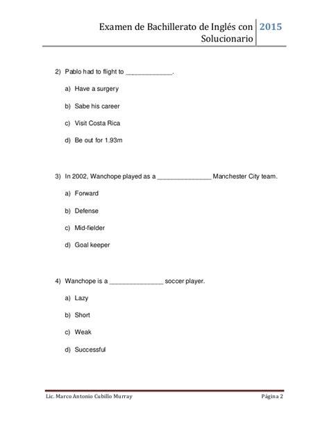 Examen De Bachillerato De Inglés Con Solucionario 2015