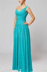 teal plain column one shoulder sleeveless chiffon ruching With teal dresses for wedding guest
