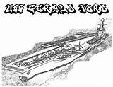 Coloring Carrier Aircraft Pages Uss Ship Ford Coloringsky sketch template