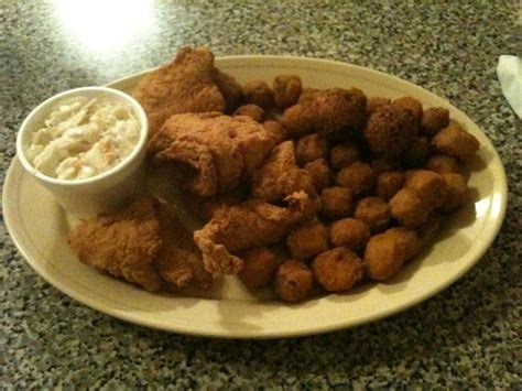 Catfish, Okra, Hush Puppies And Cole Slaw