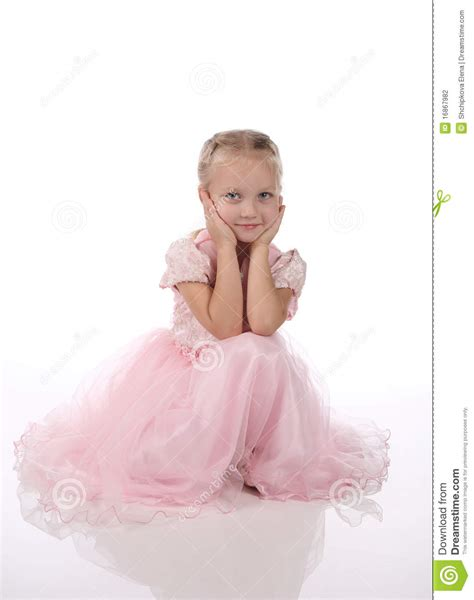 Little Girl In A Pink Elegant Dress Stock Photo Image