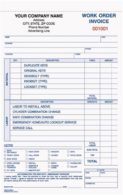 locksmith invoice forms wocc 850 locksmith work order invoice