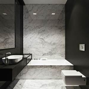 Salle De Bain Marbre Blanc : modeles salles de bains en marbre modele de salle de bain moderne noir et blanc ~ Nature-et-papiers.com Idées de Décoration