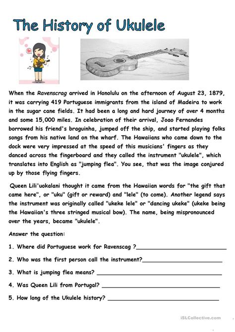 history  ukulele worksheet  esl printable