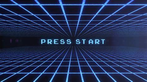video game press start retro arcade screen flyforward blue