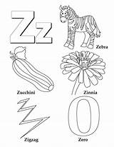 Coloring Letter Zinnia Alphabet Crafts Worksheets sketch template