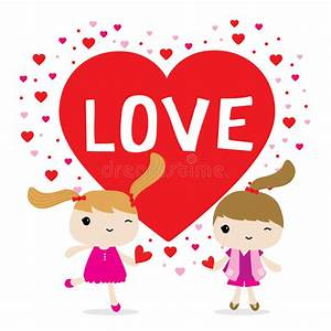 Love Girl Cute Cartoon Character Vector Stock Vector ...