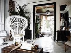 Boho Style In The Interior Luxury Peacock Chair Black White Room Disco Call Cowhide Palm Bohemian