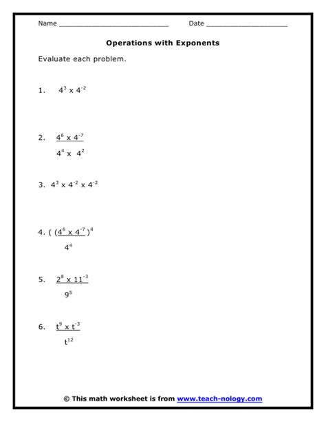 operations with exponents