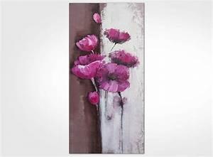 Tableau Fleurs Moderne : tableau contemporain fleur rose 120 x 60 new art gallery ~ Teatrodelosmanantiales.com Idées de Décoration