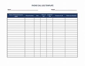 40 printable call log templates in microsoft word and excel With call register template