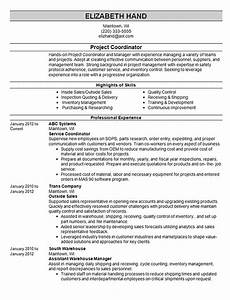 Resume Examples For Any Job Project Coordinator Resume Example Projects And Services