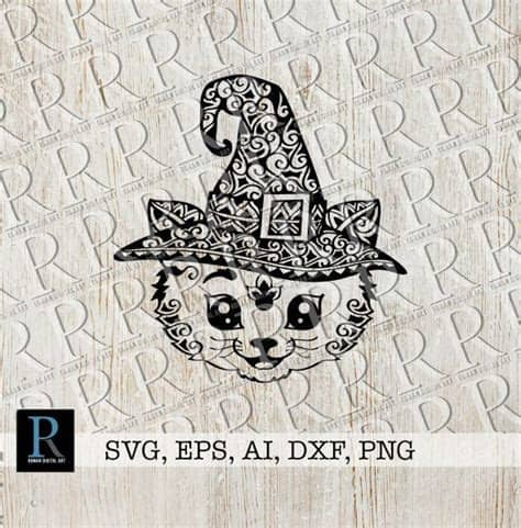 The file will be available to download in svg, png, dxf, eps and ai format. Zentangle Cat Witch SVG-Datei, Mandala Halloween SVG-Datei ...