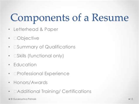Essential Resume Components by Application Resume