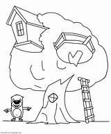 Tree Coloring Pages Cartoon Treehouse Getcoloringpages Simple sketch template