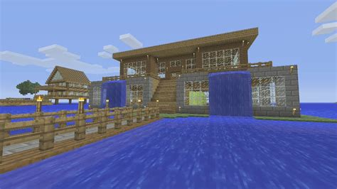 minecraft tutorial     awesome waterfall survival house ash youtube