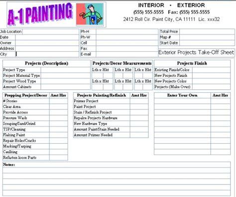 painting estimate template lovely exterior paint estimator 9 painting estimate form template newsonair org
