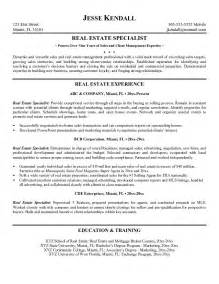 real estate resume sles exle real estate specialist resume free sle