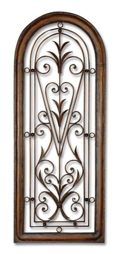 tuscan wall decor metal 50 quot tuscan wrought iron wall grill arch shaped
