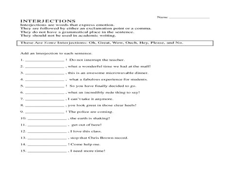 Printables Interjections Worksheet Mywcct Thousands Of Printable Activities