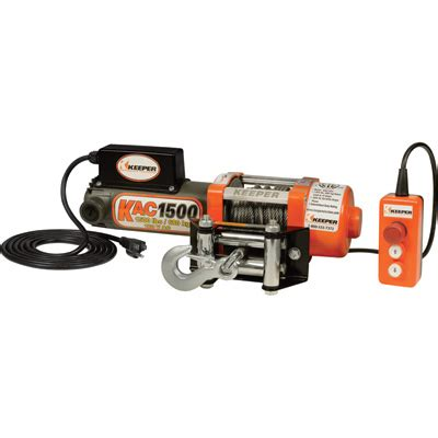 keeper 110 120 volt ac powered electric utility winch 1 500 lb capacity galvanized wire