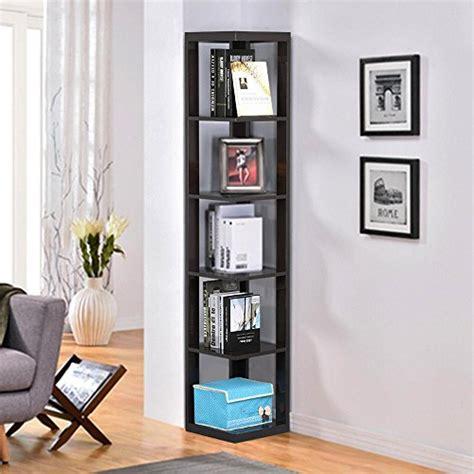 yaheetech  tier espresso finish wood wall corner shelf slim bookshelfbookcase tall display