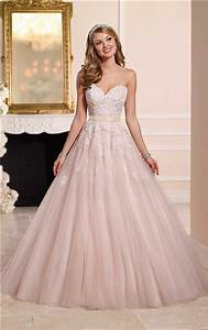 ball gown strapless sweetheart dusty pink tulle lace With pink and gold wedding dress