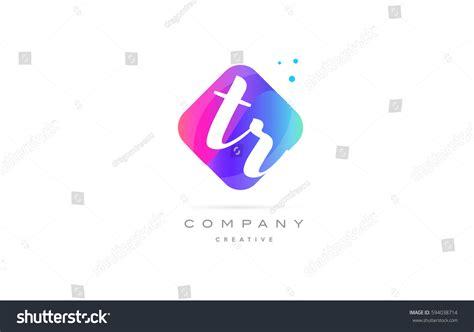 Tr T R Pink Blue Rhombus Stock Vector 594038714
