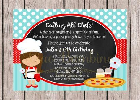 printable  chef birthday party invitation pizza