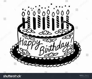Happy Birthday Cake Retro Clipart Illustration Stock ...
