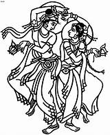 Dance Drawing Indian Krishna Clipart Folk Coloring Pages Cliparts Dancing Clip Symbols Cartoon India Garba Drawings Line Radha Dancers Traditional sketch template