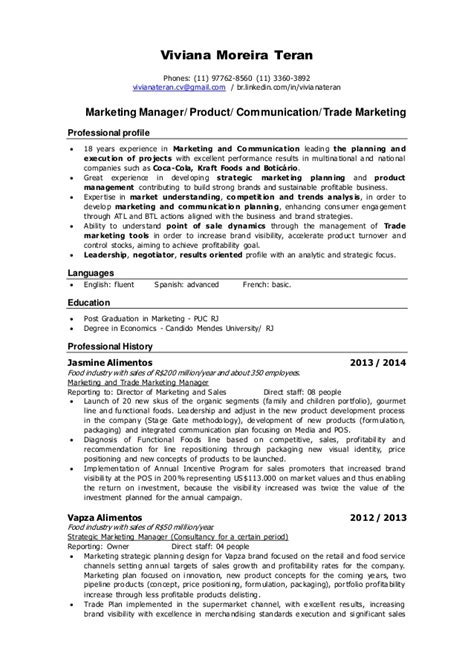 Trade Marketing Resume resume viviana teran marketing manager product