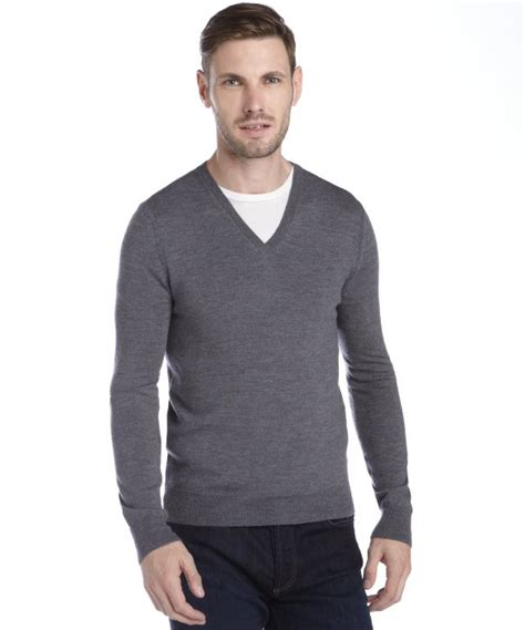 mens v neck sweater burberry grey merino wool knit v neck sweater in gray for
