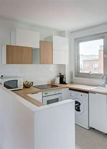 cuisine integree ouverte total look blanc et bois With cuisine integree
