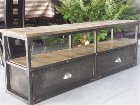 beau meubles industriels pas cher et meuble tv industriel en matal et bois collection images
