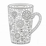 Coloring Coffee Cup Adult Colouring Printable Zentangle Mug Doodle Doodles Tea Adults Floral Drawn Ups Wickedbabesblog sketch template