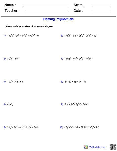naming polynomials worksheet algebra 1 worksheets dynamically created algebra 1