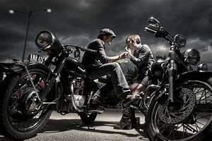 Love this shot of a biker couple, kicking back at a bike ...