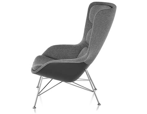 striad high back lounge chair with wire base hivemodern