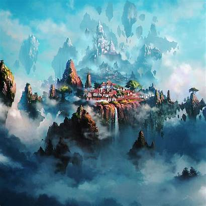 Ipad Anime Fantasy Town Cloud Pro Wallpapers