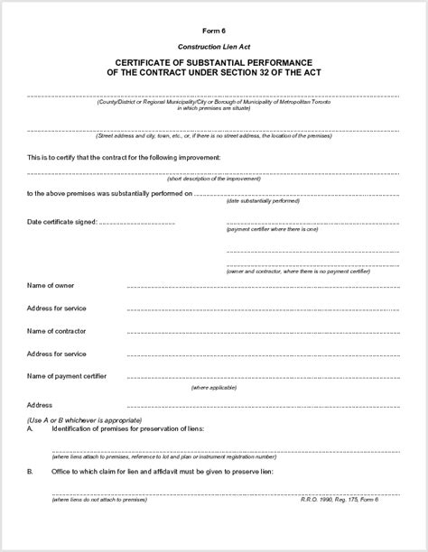 certificate of substantial completion ontario form certificate of substantial completion form ontario